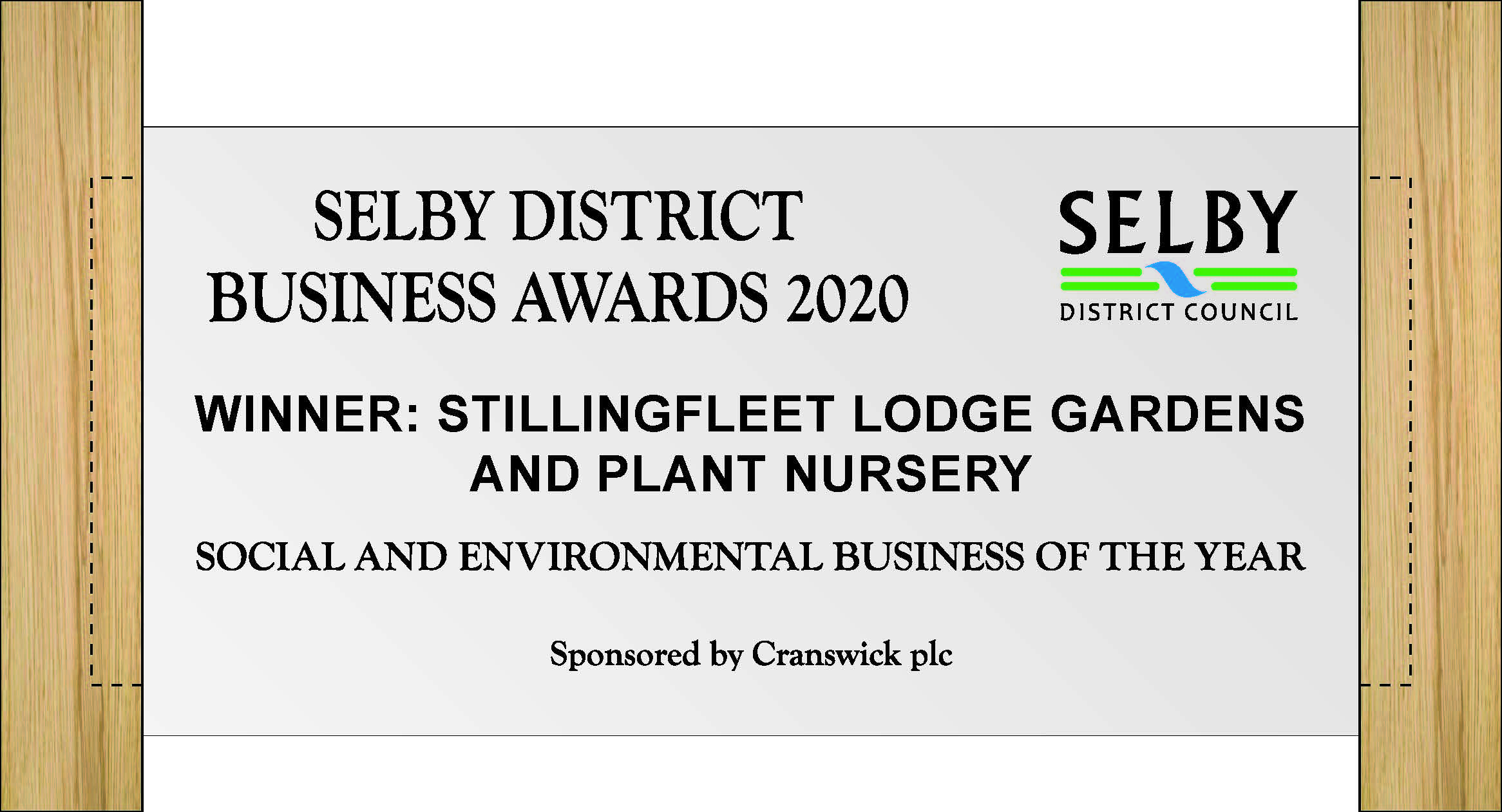 Selby Business Awards 2020 winner's certificate